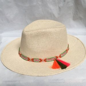 Cara New York Multi-Color Trim Brim Straw Hat